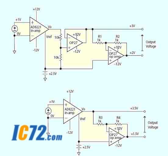 :设计差分输出仪表放大器的通用方法.上部电路保持增益,下部电图片