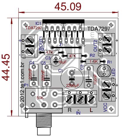 tda7297功放电路图-功率放大电路PCB布局