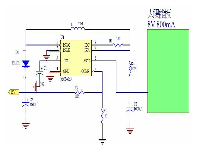 太阳能电池充电器的电路图