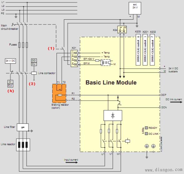 西门子s120变频器书本型进线模块预充电回路和接线方式 -解决方案