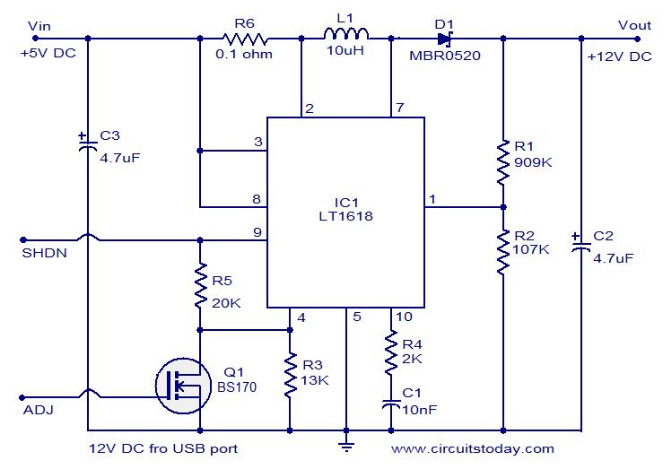 USB口供电的12伏直流电源电路图片