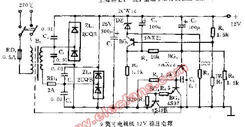 9英寸电视机12V稳压电源电路图片