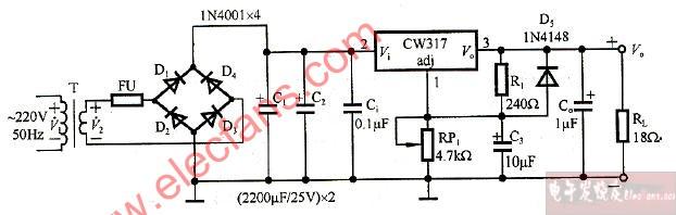 急求集成直流稳压电源的设计方案和电路图图片