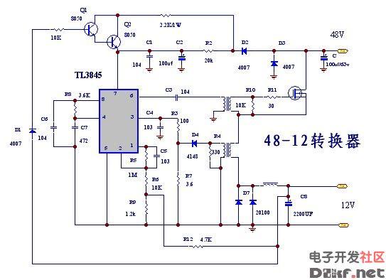 48V输入12V输出的直流降压电路图片