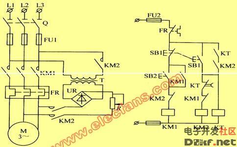 电动机能耗制动的控制线路图 电路