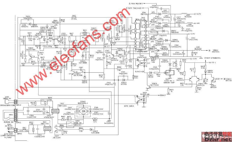 海信TF3488DP图纸开关电源圆盘电路斜开沟机双彩电图片