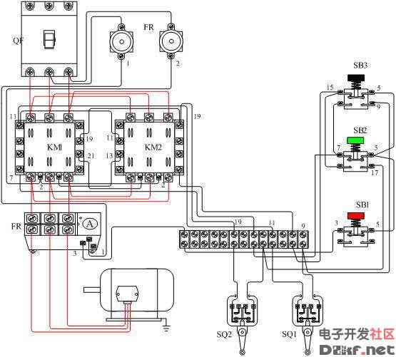 电动机可逆带限位控制电路实物接线图
