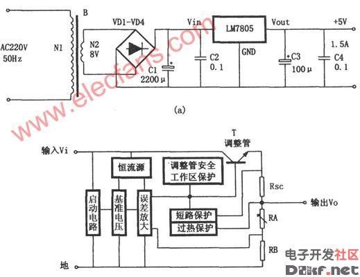 05构成的5V稳压电源电路图片