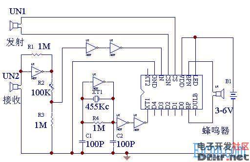 超声波测距报警控制芯片电路