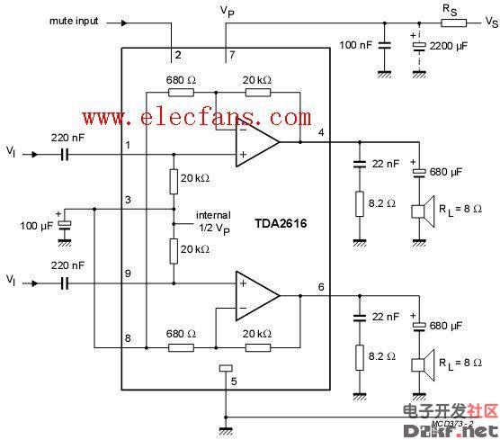 tda2616单电源功放电路图:图片