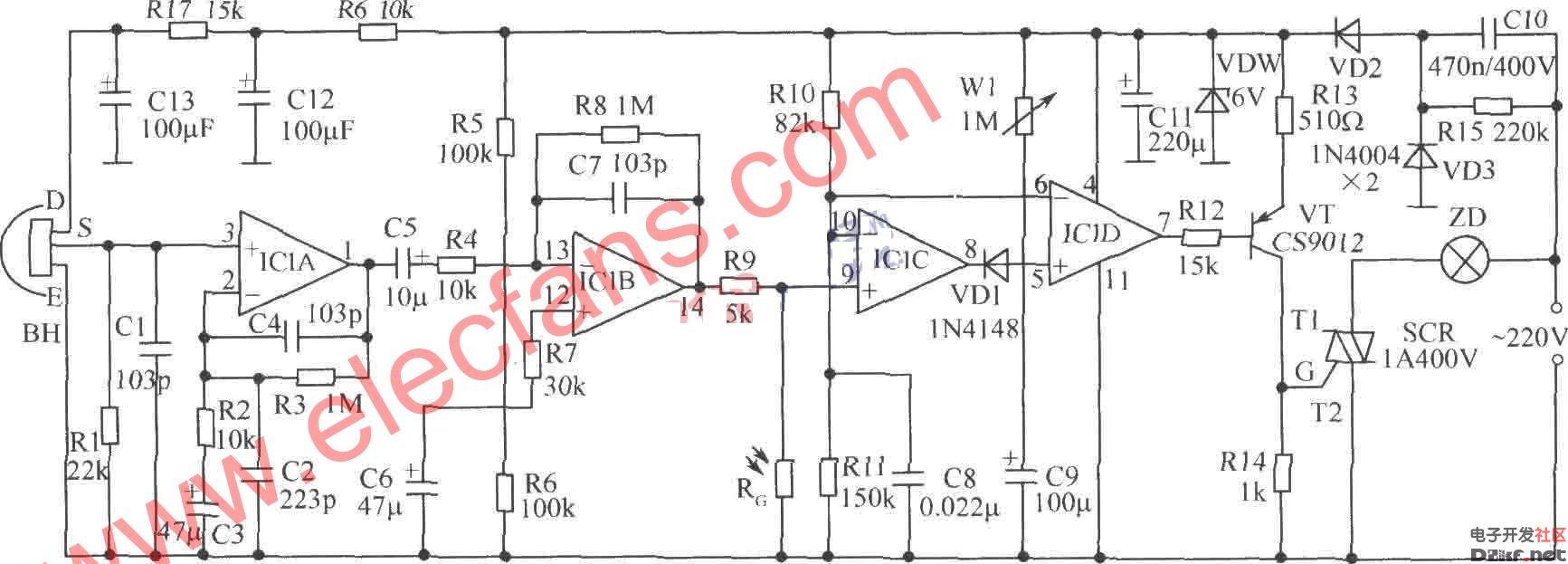 水塔水位控制器电路