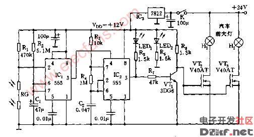 汽车前大灯自动控制器电路图2高清图片