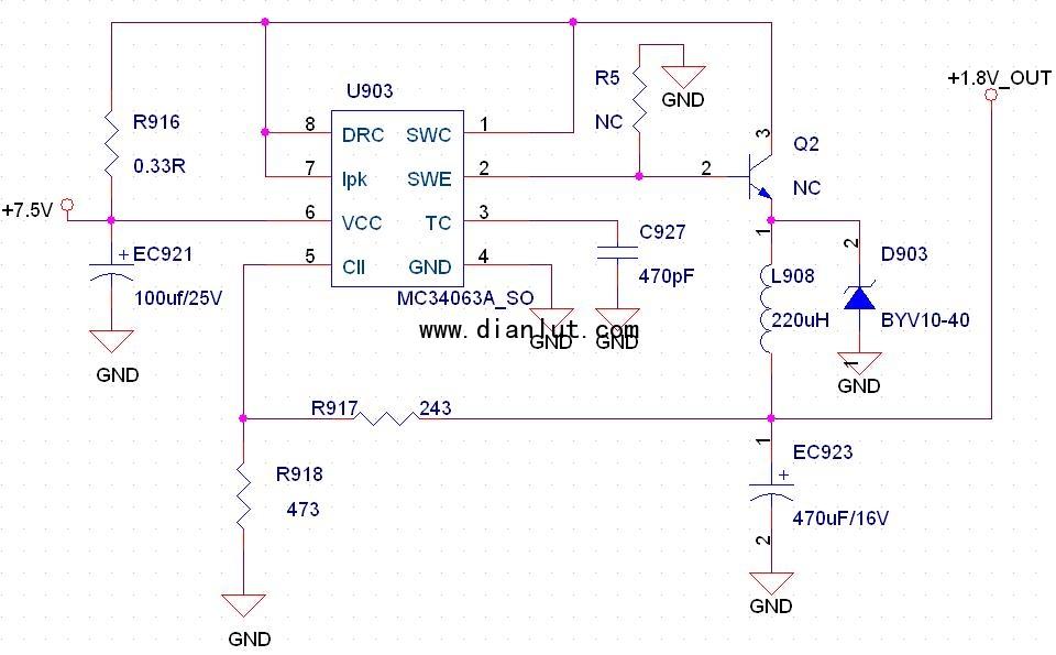 4063芯片的直流降压电路 输出1.8V,带扩流电路图片