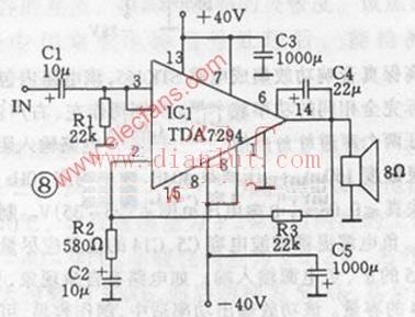 100W功率放大器电路图