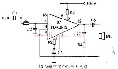 [10W单声道OTL功率放大器电路]的电路图-10W单声道OTL功率放大图片
