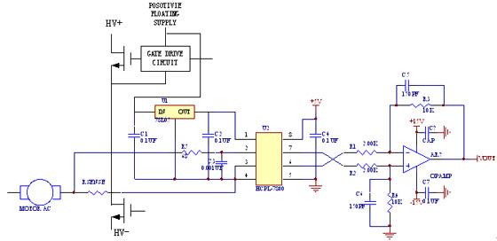 光耦隔离运放hcpl-7800在电机电流采样中应用
