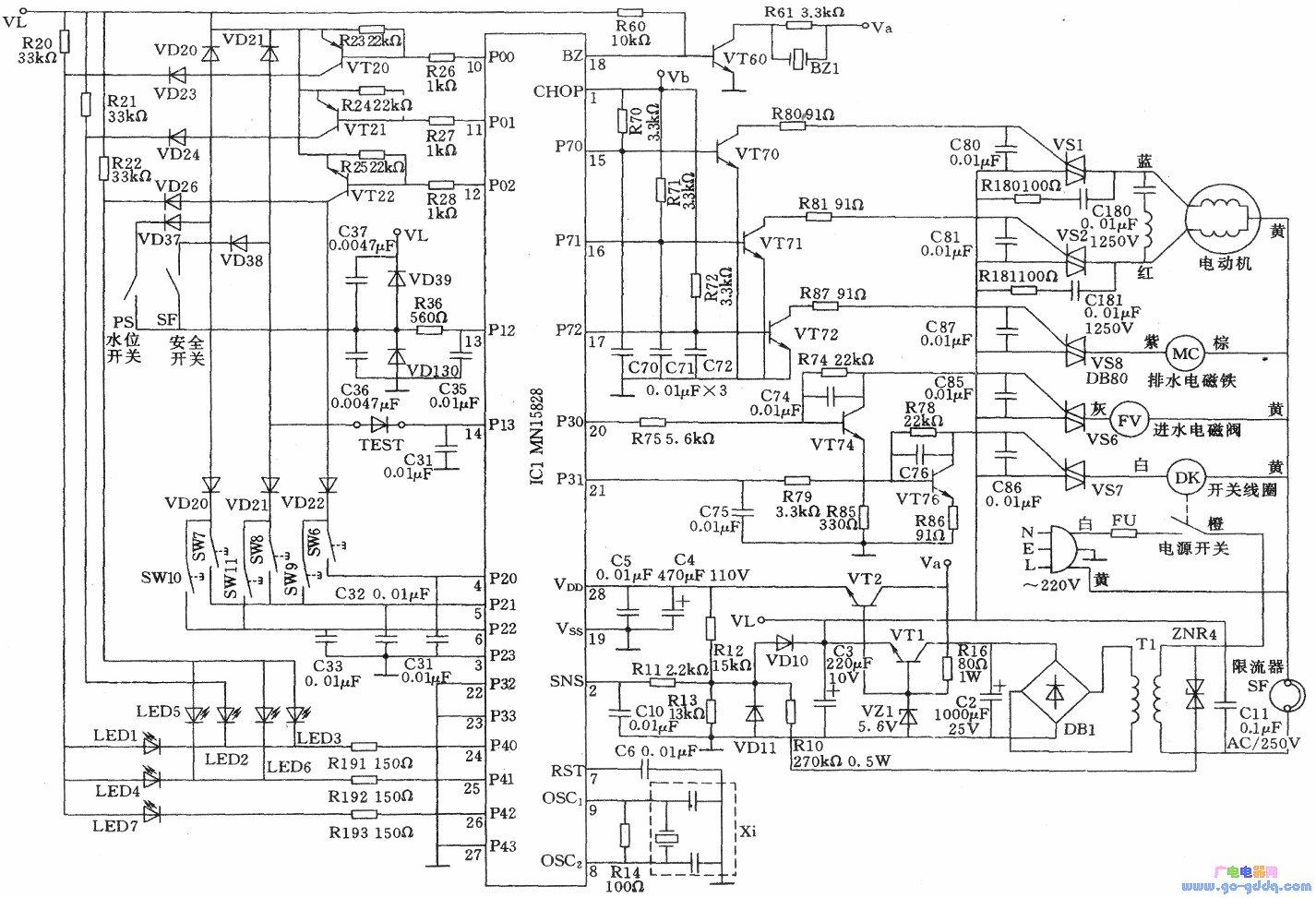 海尔xqb45-a全自动洗衣机电路图