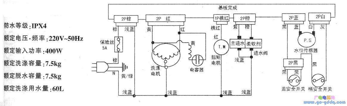 半自动洗衣机结构图; 三洋xqb75-m1155洗衣机电路图