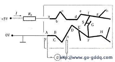 印刷电路板上正负电源供电线条短路点示意图-在印刷电路板上找出