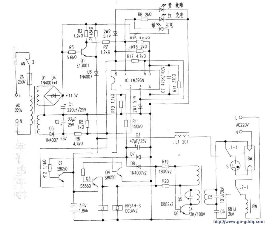 组成了LM393393N集成电路采用的消防应急灯活版auto2007cad中文原理简体激免图片