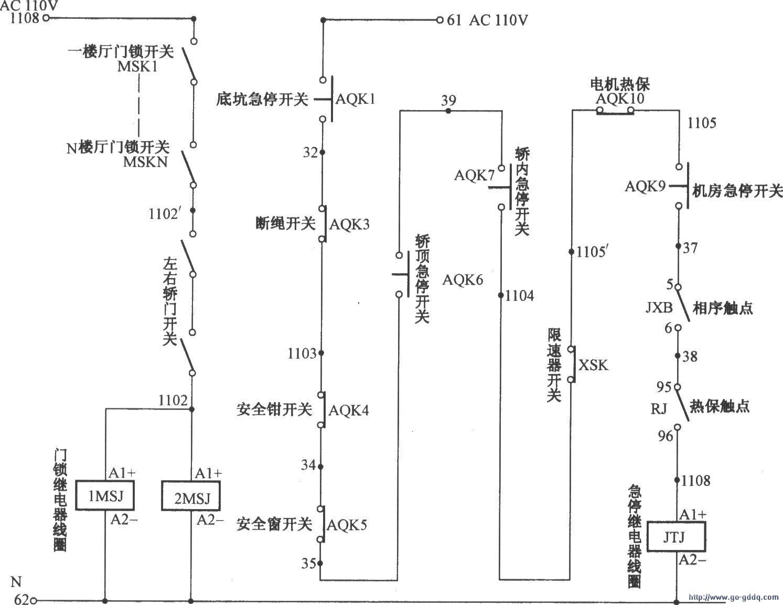 北京图捷电梯安全回路电路