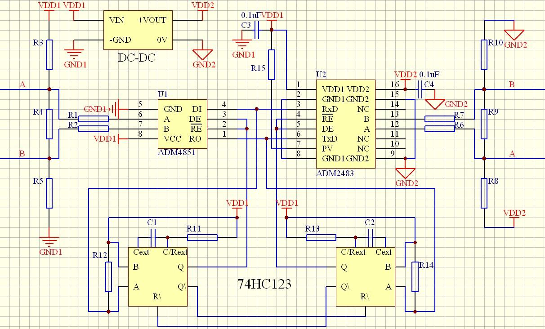 采用ADM2483的隔离RS 485中继器设计方案