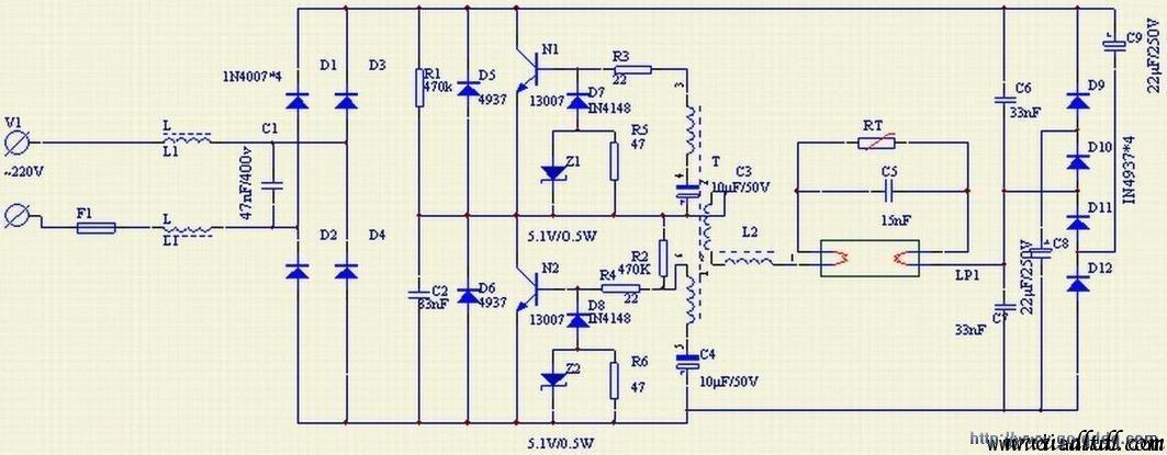 40w日光灯电子镇流器电路图