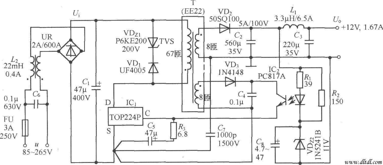 top224p构成的 12v,20w开关直流稳压电源电路图片