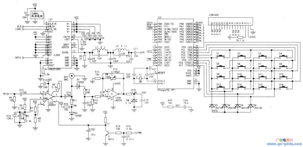 用avr单片机设计制作dds信号源图片
