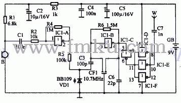 话筒接收到的音频信号经过c1耦合到反相器ic1-a组成的放大器图片