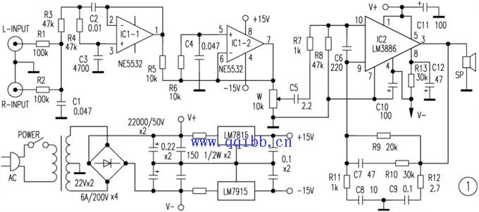 lm3886低音炮功放电路图